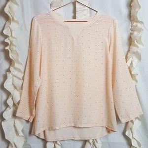 Madewell pink silk polka dot top blouse
